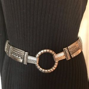 Chicos Black Leather and Silver Buckle Belt